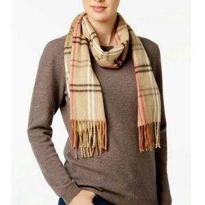 Cejon Scarf With Fringe Tartan Plaid Soft Tan